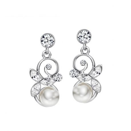 Simulated Pearl Drop Earrings for Women Austria Crystal