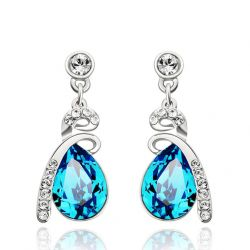 Water Drop Austria Crystal & Rhinestone Long Dangle Earrings