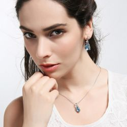 Natural Rainbow Fire Mystic Topaz Pendants Rings Earrings 925 Sterling Silver Jewelry Sets