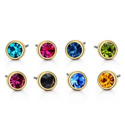 Colorful Stud Earrings Set For Women Austrian Rhinestone