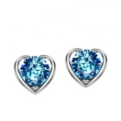 Created Sapphire Jewelry Set 925 Sterling Silver Ring Pendant Stud Earring