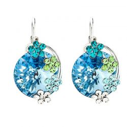 Blue Crystal Flower Love Clip Cuff Earrings