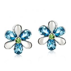 Austrian Crystal Rhinestone Flower Stud Earrings for Women