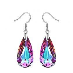 Crystal Purple Water Drop Dangle Earrings For Women