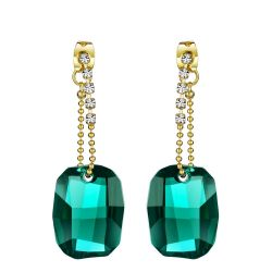 Green Crystal & Rhinestone Drop Earrings Classic Vintage