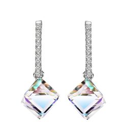 Square Dangle Earrings for Women AB Crystals from Swarovski