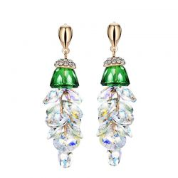 Crystal & Rhinestone Dangle Earrings Green Geometric