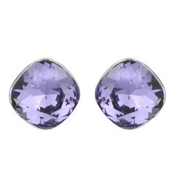 Crystals from Swarovski Square shape stud earrings Solid silver