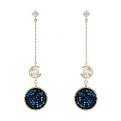 Original Pave Crystals from Swarovski Dangle Moon Embraces the Sun Earring