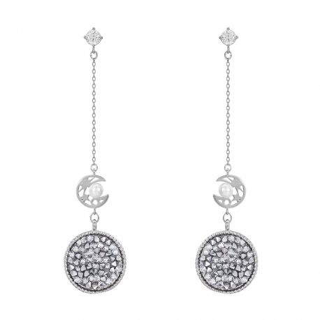 White and Pink Original Pave Crystals from Swarovski Dangle earring