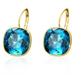 gold plated leverback cushion cut square women fashion earrings Crystals from Swarovski