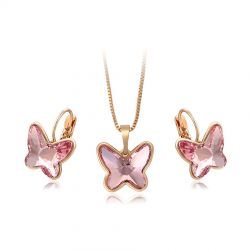 Butterfly Crystals from SWAROVSKI  Earring and Pendant Necklace Gold toned