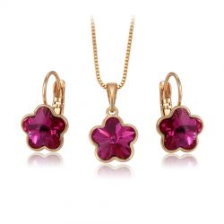 Swarovski Crystal Flower Jewelry set for Girls Gold toned
