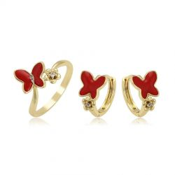 Cute Butterfly Rhinestone Red Enamel Fashion Jewelry set