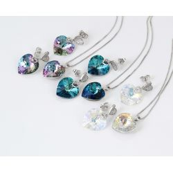 Rose Gold Color Blue Crystal Rhinestone Jewelry Set For women