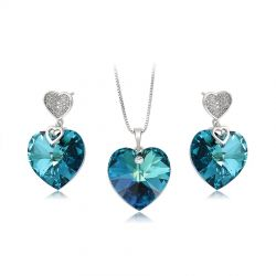 True Love heart Crystals from SWAROVSKI Rhodium plated jewelry set