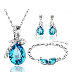 Water Drop Crystals from SWAROVSKI  Rhodium plated Set
