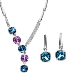 3 Color Crystals from SWAROVSKI Platinum Plated Jewelry set