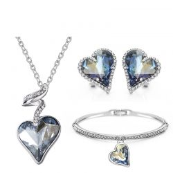 Swarovski crystal light blue color fashion jewelry set