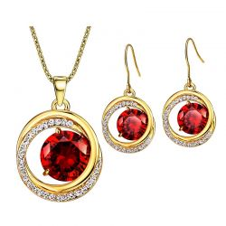 Red crystal Czech Rhinestones Gold toned jewelry set