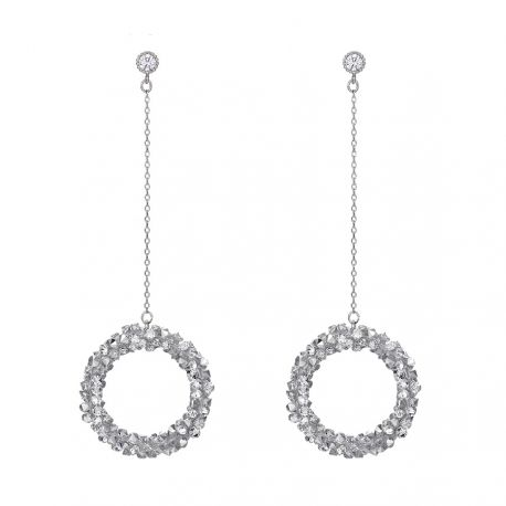 Long Chain Circle Earrings Original Pave Crystals from Swarovski