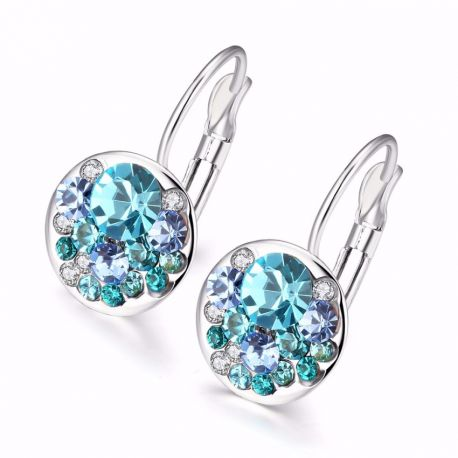 Round Charming Stud Earrings with Czech Crystal