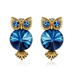 Blue Crystal Owl Stud Earrings For Women Antique Light Yellow Gold Color