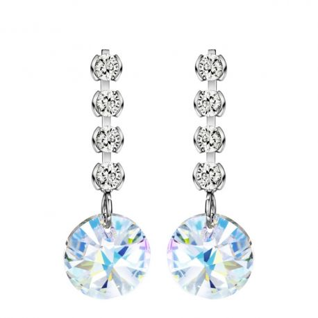 S925 Silver Austria Crystal & Zircon Drop Earrings