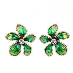 Austria Rhinestone Imitation Enamel Colorful Flowers Stud Earrings