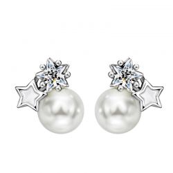 Simulated Pearl Star Silver Needle Stud Earrings for Women