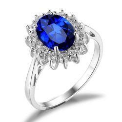 Princess Diana Created Sapphire Ring 925 Sterling Silver Rings for Women