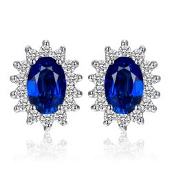 925 Sterling Silver Created Blue Sapphire Stud Earrings