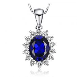 Created Sapphire Pendant Necklace 925 Sterling Silver