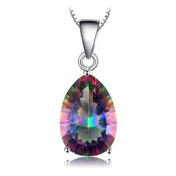 4.5ct Genuine Rainbow Fire Mystic 925 Sterling Silver Pendant