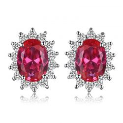 Created Ruby Stud Earrings 925 Sterling Silver Earrings For Women