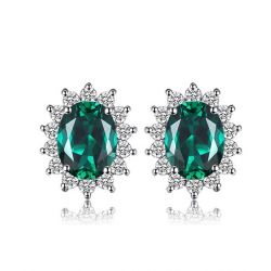Diana Simulated Emerald Stud Earrings 925 Sterling Silver