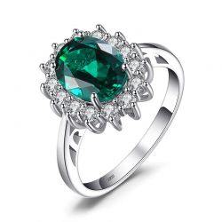 Simulated Emerald 925 Sterling Silver Rings for Women Engagement