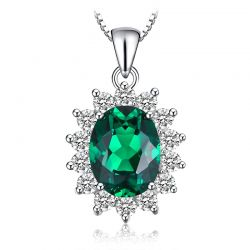 Simulated Nano Emerald Pendant Necklace 925 Sterling Silver