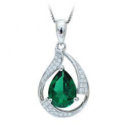 3ct Simulated Nano Emerald Pendant Necklace 925 Sterling Silver