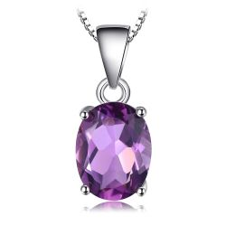 Natural Amethyst Pendant 925 Sterling SilverWithout Chain