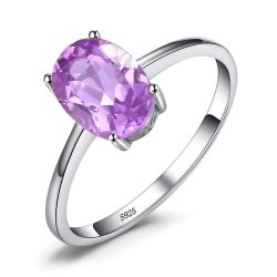Genuine Amethyst Oval Cut 925 Sterling Silver Rings for Women