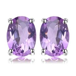 1.4ct Genuine Amethyst Stud 925 Sterling Silver Earrings For Women