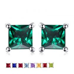 Minimalist Style  Stud Gemstones 925 Sterling Silver Earrings For Women
