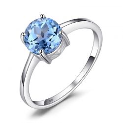 Stud  Natural Gemstone Blue Topaz S925 Silver Ring For Women