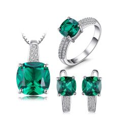Created Emerald Cushion Cut Sterling silver jewelry set