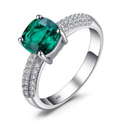 Cushion Created Nano Emerald Ring 925 Sterling Silver Rings for Women