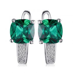 Created Nano Emerald Hoop Earrings 925 Sterling Silver  For Women
