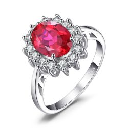 Created Red Ruby Ring 925 Sterling Silver Rings for Women