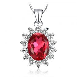 Created Red Ruby Pendant Necklace 925 Sterling Silver
