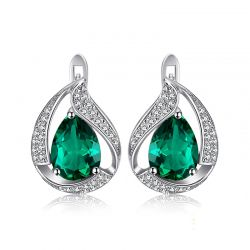 Created Nano Emerald Hoop Earrings 925 Sterling Silver